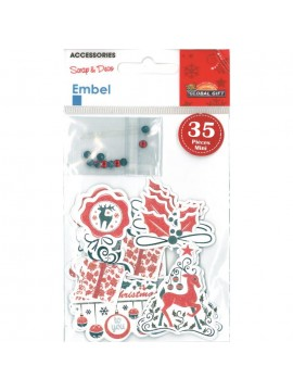 EMBEL CHRISTMAS STICKERS 8X11CM 550019*