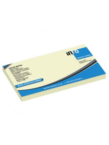 INFO NOTES ΧΑΡΤΑΚΙΑ ΚΙΤΡΙΝΑ POWER NOTES 125X75MM 100Φ